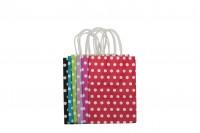 Хартиени торбички с размери  150x80x210 mm в различни цветове на точки бели