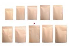 Kraft опаковка  тип Doy Pack със затваряне с цип, алуминиева вътрешна облицовка и възможност за запечатване с топлоизолация 180x40x260 mm - 50 бр.
