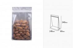 """Алуминиева прозрачна опаковка Doy Pack  с """"цип"""" затварябе  и възможност за термозапечатване 140x60x240 мм - 50 бр"""