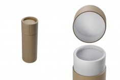 Кафява крафт (вътрешно бяла) цилиндрична кутия с размери 40х116 мм за бутилки - 12 бр