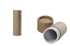 Кафява крафт  (вътрешно бяла) цилиндрична кутия с размер  42x125 mm за бутилки - 12 бр