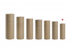 Кафява крафт  (вътрешно бяла) цилиндрична кутия с размер  36x102 mm за бутилки - 12 бр