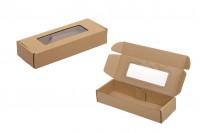 Опаковъчна кутия 280х100х50 мм от крафт хартия с прозорец - 20 бр