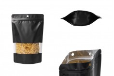 Алуминиеви торбички тип ДОЙ ПАК с цип затваряне с размери 160x40x240 mm, с прозорец и с възможност за термозапечатване - 100бр./пакет