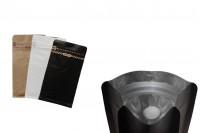 """Алуминиеви опаковки  Doy Pack с вентил и """"цип"""" затваряне термозапечатване (термозапечатване) , въшна крафт облицовка, с размери 95x55x185 mm ( НЕ Е ЗА РЪЧНО ЗА ПЕЧАТВАНЕ)"""