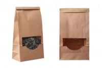 Крафт торбичка с размери 120x60x245 mm с прозорец и тел за запечатване (tin-tie)