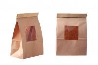 Крафт торбичка с размери 150x80x225 mm с прозорец и тел за запечатване ( tin-tie)