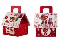 Коледни подаръчни кутии с дръжка, с размери  160x145x190 mm - 12 бр./ в опаковка