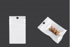 Пластмасови торбички с цип с размери 60x100 мм, с бял гръб и прозрачна предна част - 100 бр.