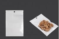 Пластмасови пликове с цип  затваряне с размери 110x160 mm, с бял гръб и прозрачна предна част с дупка - 100 бр.
