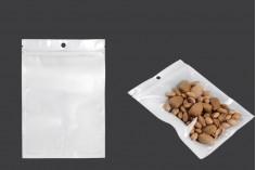 Пластмасови пликове с цип 140x200 мм, с бял гръб и прозрачна предна част, с дупка