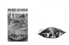 Алуминиева опаковка тип ДОЙ ПАК с размер 120x30x200 мм - алуминиева задна страна, прозрачна предна част с цип и  възможност за термозапечатване- 100 бр.