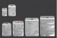 Пликче с цип  122x170 mm,от нетъкан текстил в гръб сребърен и с прозрачна предна част и дупка Eurohole- 100 бр.