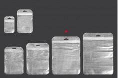 Пликчета с цип 150x200 mm, със сребърна нетъкана задна част и прозрачна предна част и дупка Eurohole - 100 бр.