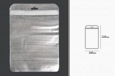 Пликчета с цип  160x220 mm, сребърна нетъкана в гръб и прозранча в предната част с дупка Eurohole - 100 бр.