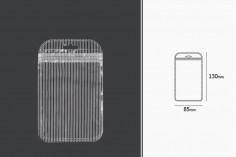 Пластмасови пликове  с цип 85х130 мм, с прозрачен гръб и Eurohole - 100 бр