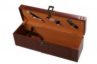 Луксозна дървена кутия за бутилка  за вино с аксесоари