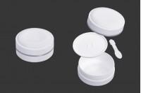 Пластмасов бял буркан 100 мл  (PP) с капачка, с уплътнител и шпатула