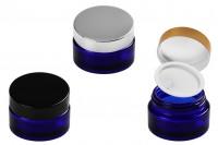 Стъклен син буркан за козметика 30 мл с капачка с уплътнител