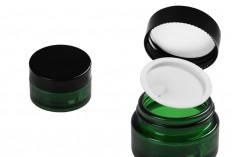 Стъклен зелен буркан 20 мл с капачка с уплътнител и външен пластмасов уплътнител