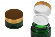 Стъклен зелене буркан за крем 50 мл с капачка с уплътнител и допълнитлен вътрешен уплътнител