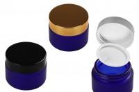 Стъклени буркани сини матови за крем 30 мл с капачка с уплътнител