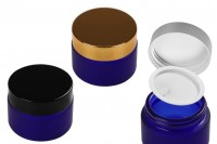 Стъклени сини матови буркани за крем 50 мл с различни цветове капачка и уплътнител