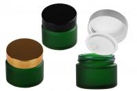Стъклено зелено матово бурканче за крем  50 мл с различни цветове капачка и уплътнител