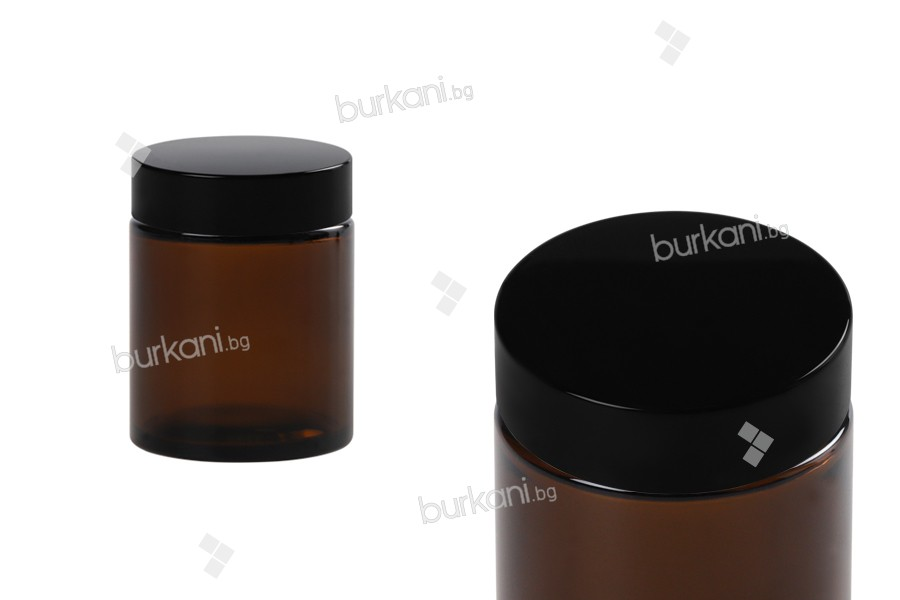Стъклено карамелено  бурканче  за крем  100 мл с пластмасова черна капачка с уплътнител, и външен уплътнител