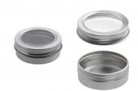 Алуминиеви буркани за крем  30 ml с капачка с прозорец -12 бр. в опаковка