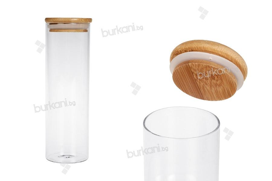 Стъклен буркан  550 мл с дървена херметическа капачка