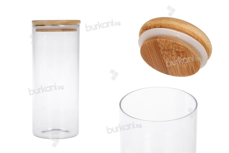 Стъклен буркан 1000 мл с дървена херметическа капачка