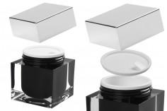 Пластмасов луксозен буркан 100 мл, Акрил за козметика, с пластмасов уплътнител на капачката