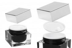 Пластмасово акрилно луксозно буркан 30 мл за крем, със сребриста капачка и пластмасов уплътнител