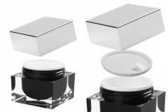 Пластмасово акрилно луксозно  бурканче 50 мл  за крем, със сребриста капачка с уплътнител