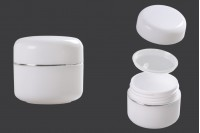 Пластмасово бяло бурканче за крем 20 мл с двойно дъно, с капачка със сребриста лента и уплътнител