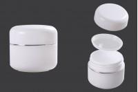 Пластмасов буркан 30 мл за крем с двойно дъно и с капачка със сребриста лента и уплътнител - 12 броя в опаковка