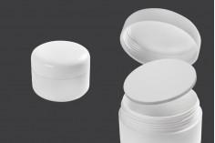 Пластмасов бял буркан за крем 100 мл , с двойно дъно с капачка и пластмасов уплътнител